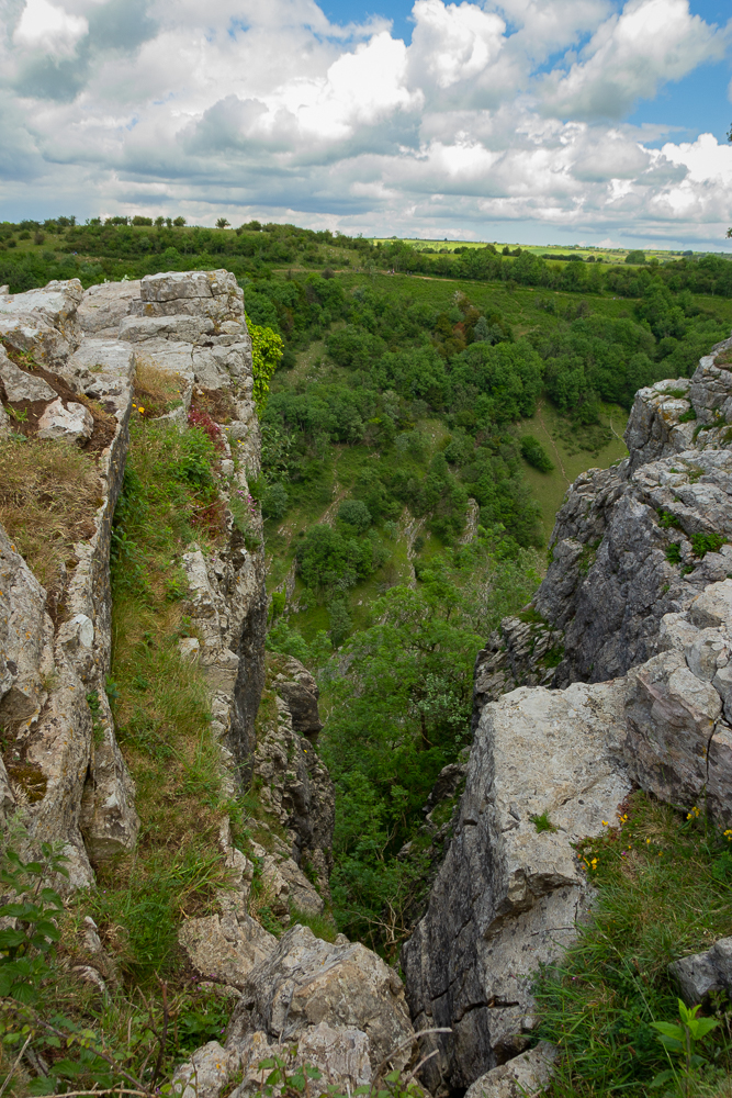 Cheddar Gorge in beautiful sunny weather from the top with wide view