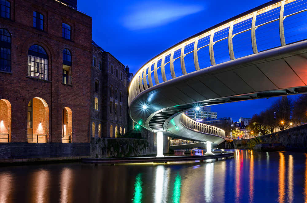 atmospheric cityscape of Bristols Finzels bridge at blue hour