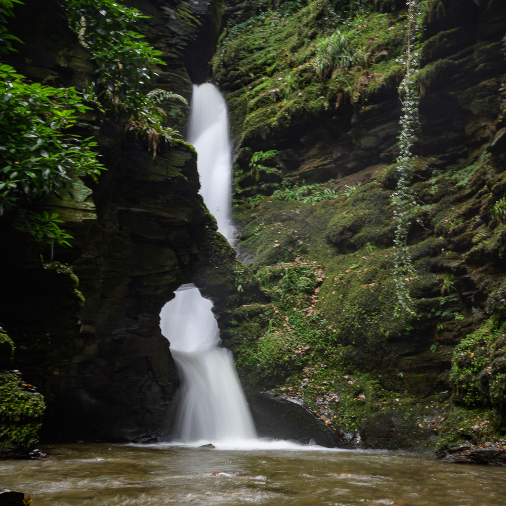 St. Nectans Kieve waterfall the main attraction of St. Nectan's Glen located between Boscastle and Tintagel. Long exposure