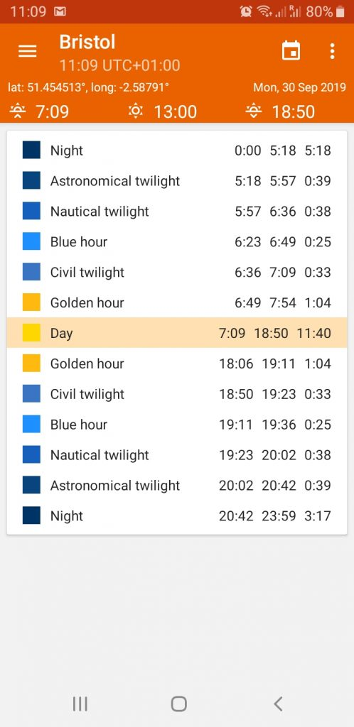golden hour app screen shot predicting the golden and blue hour times