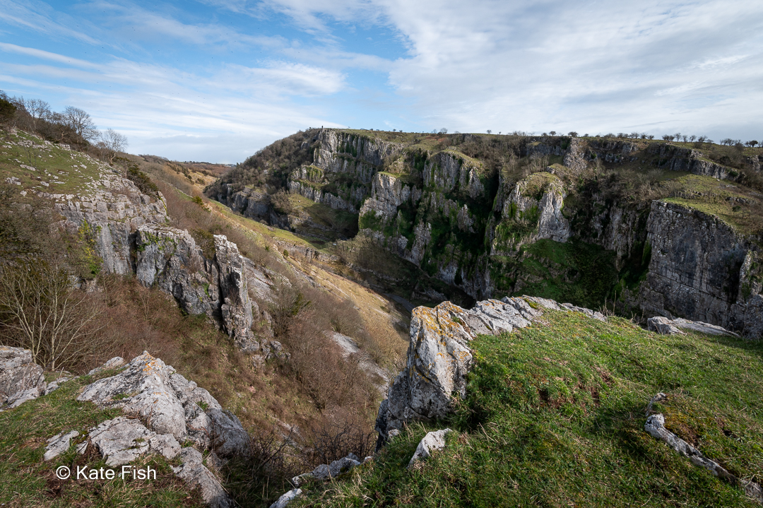 Cheddar Gorge landscape view to the East from the top of the gorge showing beautiful rocks