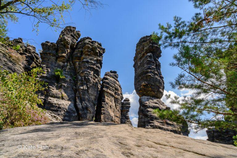 Die Herkulessäulen im Bielatal im schönen Elbsandsteingebirge bei blauem Himmel, aber von einer Felsplatte mit Weitwinkel fotografiert, dabei von Bäumen eingerahmt.