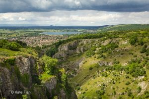 Cheddar Gorge wide view over to the west in June