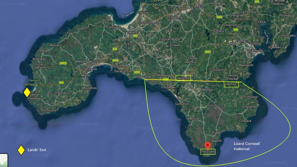 Übersichtskarte mit der Lage der Lizard Halbinsel in Cornwall, die gelb eingekreist ist mit Porthleven auf der westlichen Seite und dem Helford River auf der östlichen Seite als Begrenzung nach Norden