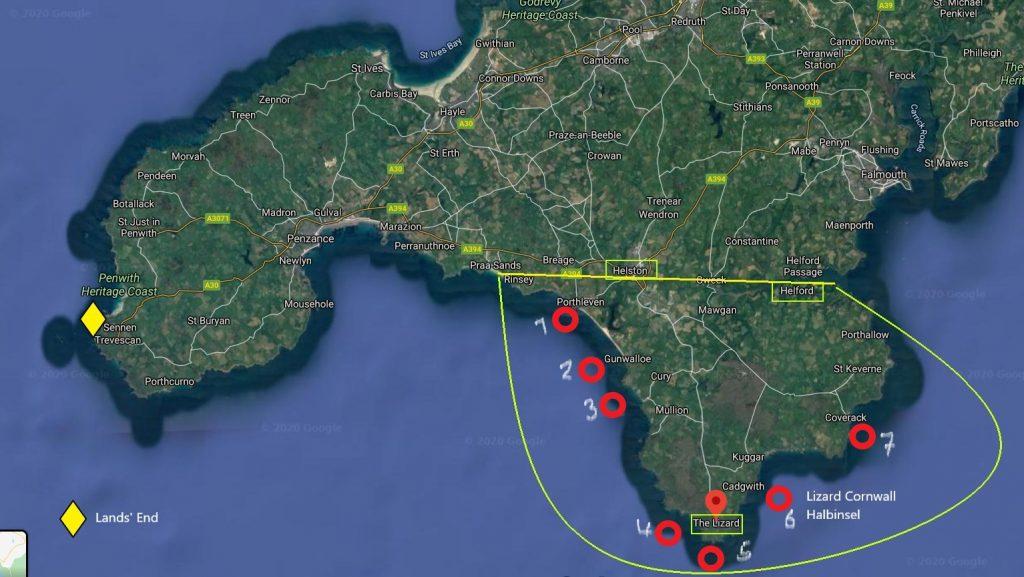 7 schönste Fotolocations auf der Lizard Halbinsel in Cornwall eingezeichnet auf der Landkartearte