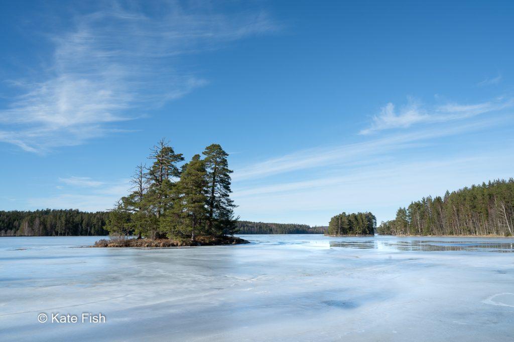 Seen inmitten von Kiefernwäldern sind meine Nr.4 der Fotolocations in Schweden. Hier eisbedeckt mit kleiner kiefernbewachsener Insel bei wunderschönem blauen Himmel
