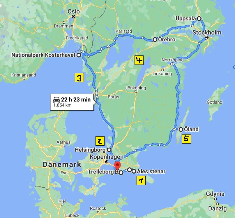 Karte der Rundreise mit den 5 vorgestellten Fotolocations in Schweden eingezeichnet